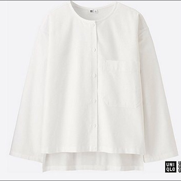 c6fa1abbfb3 Uniqlo Tops | U Collarless Oxford White Cotton Shirt Nwt | Poshmark